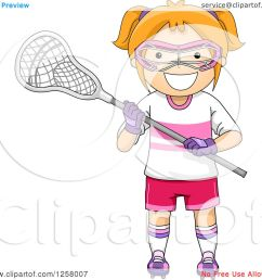 clipart of a happy red haired white girl with lacrosse gear royalty free vector illustration [ 1080 x 1024 Pixel ]