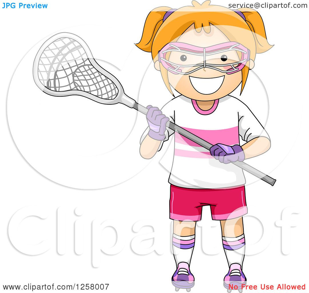hight resolution of clipart of a happy red haired white girl with lacrosse gear royalty free vector illustration