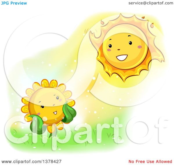 clipart of happy sunflower smiling