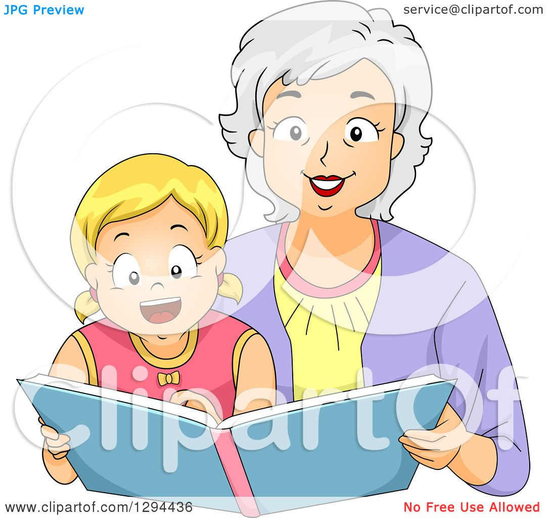 Clipart happy white senior grandmother reading, i love grandma coloring pages