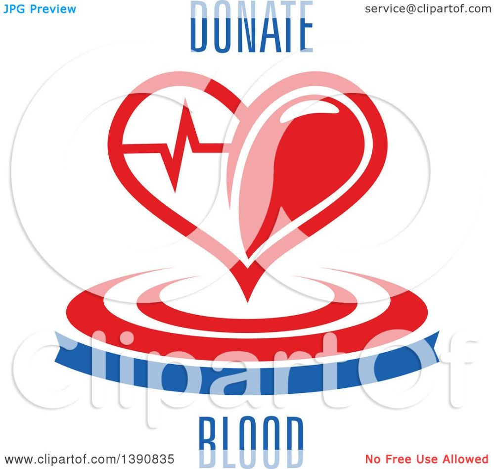 medium resolution of clipart of a heart with a graph over a banner and circles with donate blood text