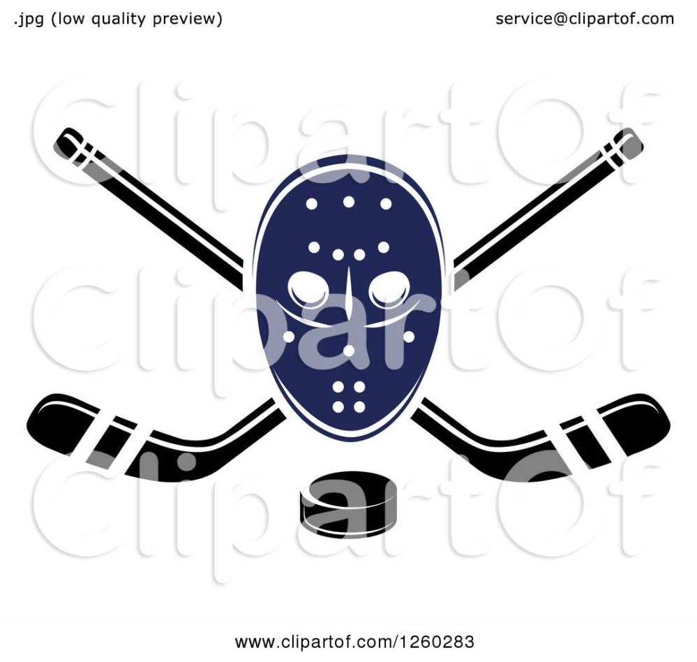 medium resolution of clipart of a hockey mask over crossed sticks and a puck royalty free vector illustration