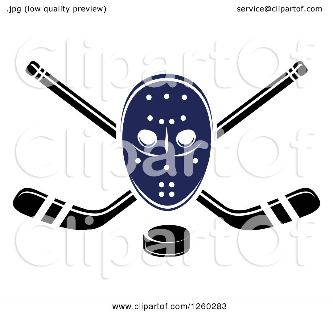 hight resolution of clipart of a hockey mask over crossed sticks and a puck royalty free vector illustration