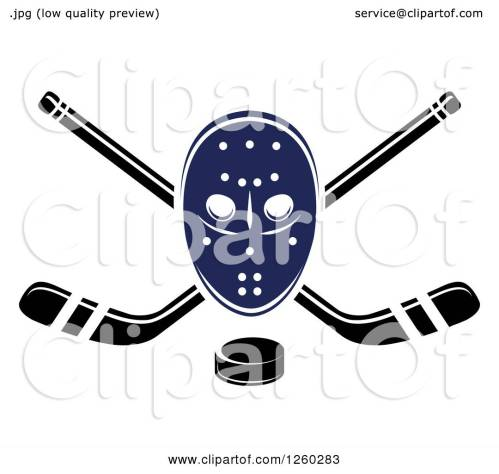 small resolution of clipart of a hockey mask over crossed sticks and a puck royalty free vector illustration