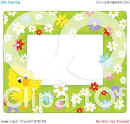 horizontal border cute yellow frame around clipart flowers space text chick illustration vector royalty clip bannykh alex
