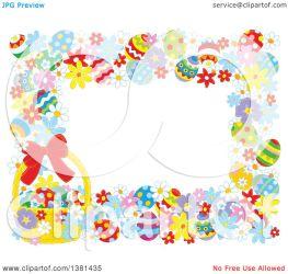 easter border horizontal basket frame flowers clipart eggs illustration royalty clip vector alex bannykh