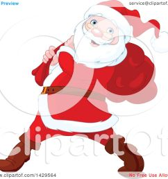 clipart of a jolly santa claus carrying a sack over his shoulder royalty free vector [ 1080 x 1024 Pixel ]