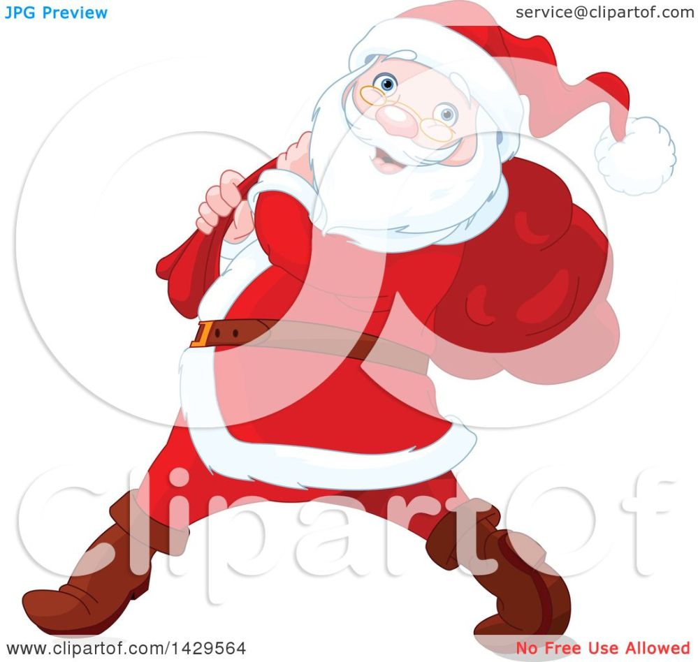 medium resolution of clipart of a jolly santa claus carrying a sack over his shoulder royalty free vector