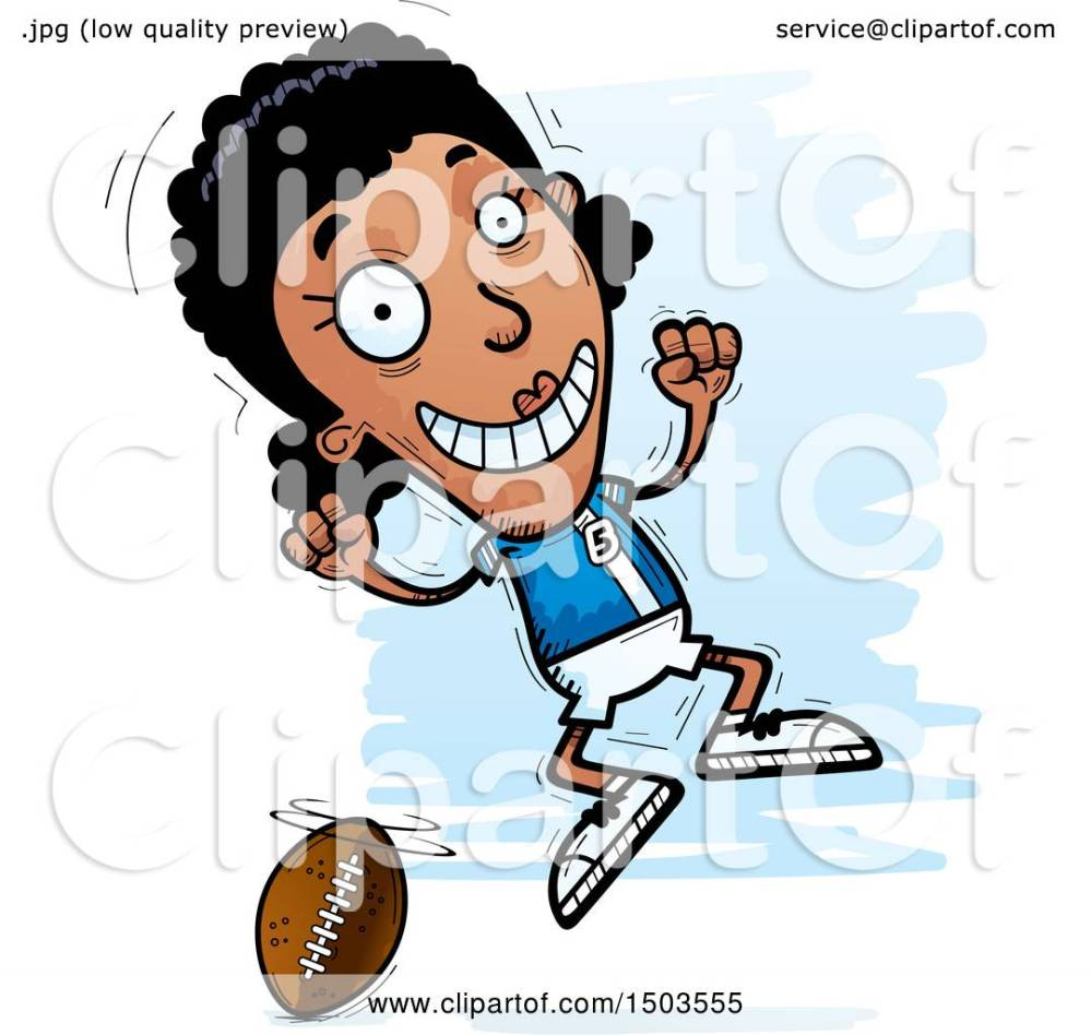 medium resolution of clipart of a jumping black female football player royalty free vector illustration by cory thoman