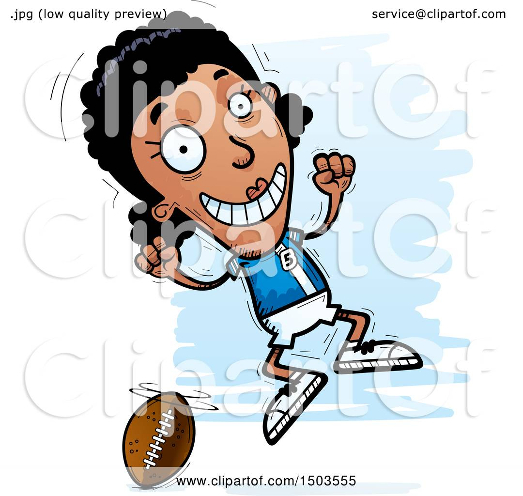 hight resolution of clipart of a jumping black female football player royalty free vector illustration by cory thoman