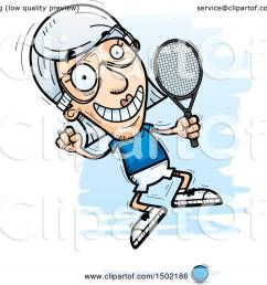 clipart of a jumping caucasian senior woman racquetball player royalty free vector illustration by cory thoman [ 1080 x 1024 Pixel ]