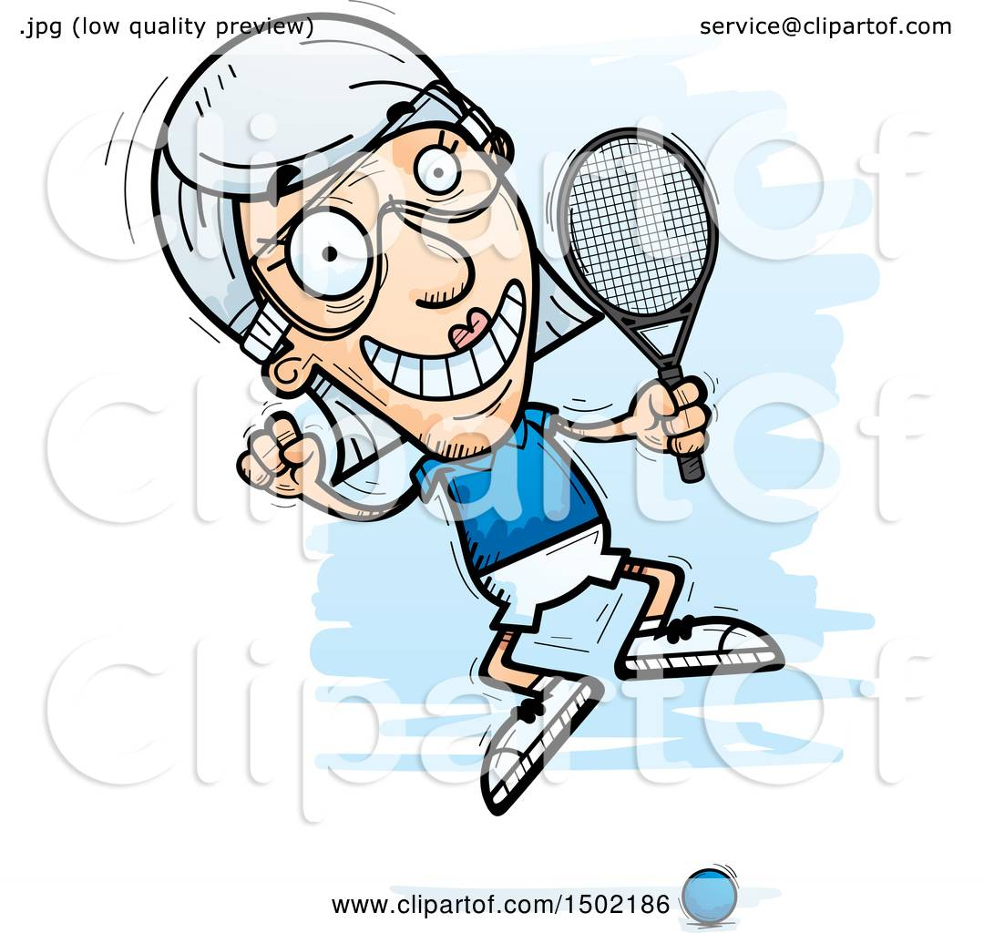 hight resolution of clipart of a jumping caucasian senior woman racquetball player royalty free vector illustration by cory thoman