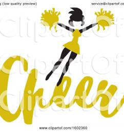 clipart of a jumping cheerleader above yellow cheer text royalty free vector illustration by johnny [ 1080 x 1024 Pixel ]