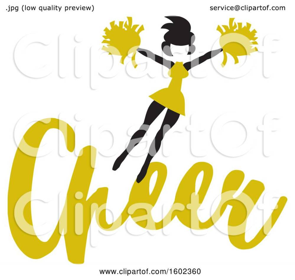 medium resolution of clipart of a jumping cheerleader above yellow cheer text royalty free vector illustration by johnny