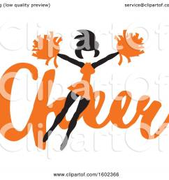 clipart of a jumping cheerleader over orange cheer text royalty free vector illustration by johnny [ 1080 x 1024 Pixel ]