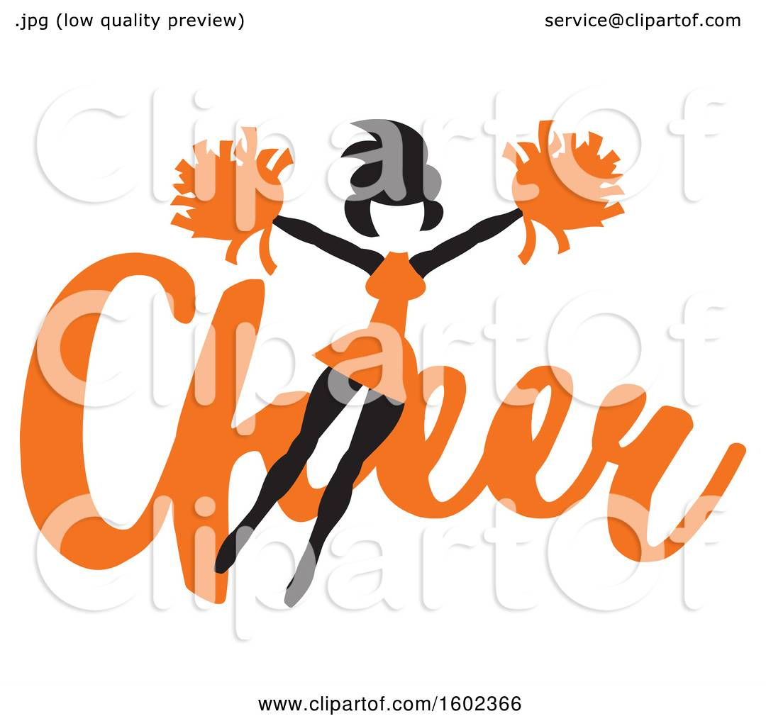 hight resolution of clipart of a jumping cheerleader over orange cheer text royalty free vector illustration by johnny