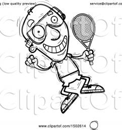 clipart of a jumping senior man racquetball player royalty free vector illustration by cory thoman [ 1080 x 1024 Pixel ]
