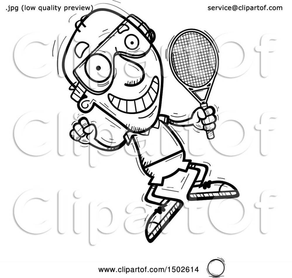 medium resolution of clipart of a jumping senior man racquetball player royalty free vector illustration by cory thoman