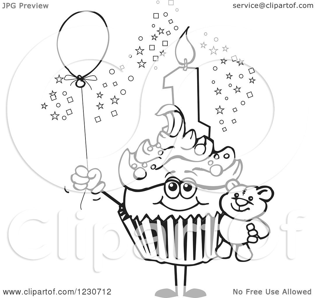 Clipart Of A Line Art Boys First Birthday Cupcake With A