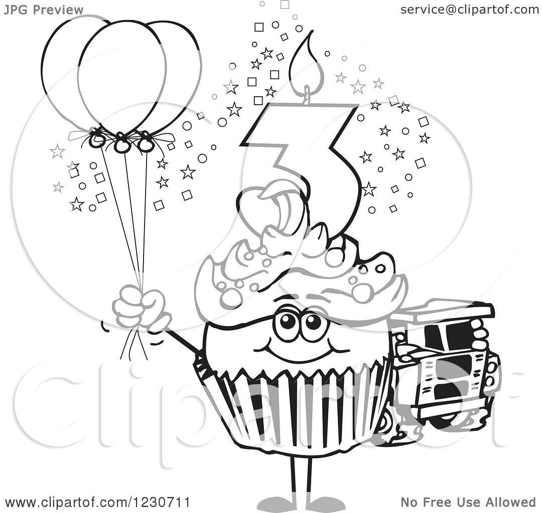 Clipart Of A Line Art Boys Third Birthday Cupcake With A