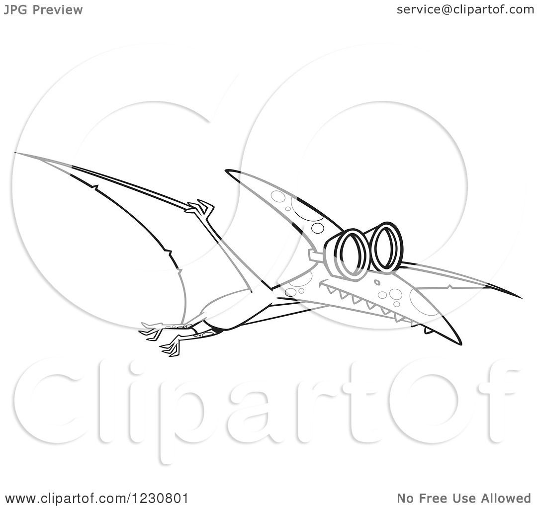 Clipart Of A Line Art Cartoon Pterodactyl Dinosaur Flying