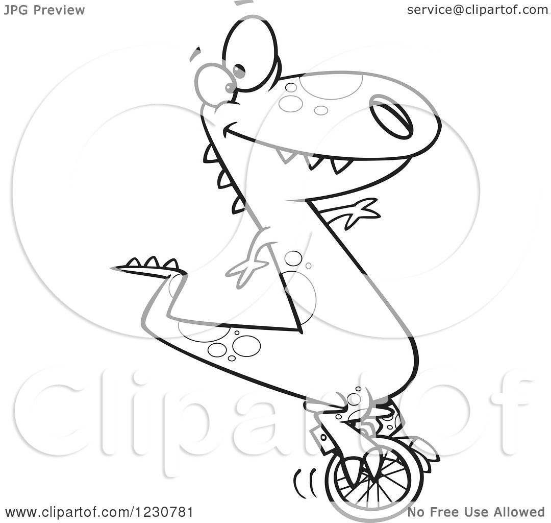 Clipart Of A Line Art Cartoon T Rex Dinosaur On A Unicycle