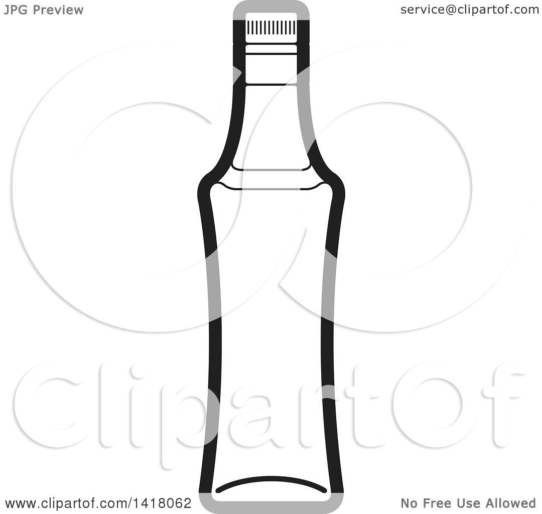 Clipart Of A Lineart Beer Bottle