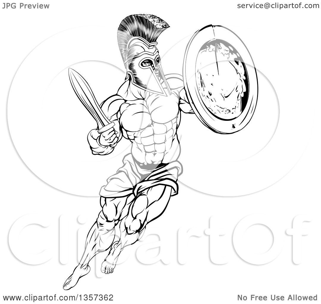 Clipart Of A Lineart Black And White Muscular Spartan Man In A Helmet Fighting And Jumping With