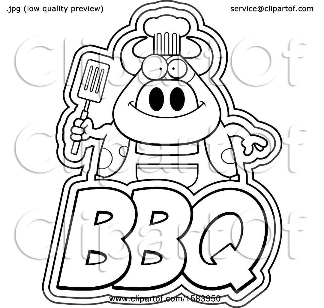 Clipart of a Lineart Grilling Chef Cow Holding a Spatula