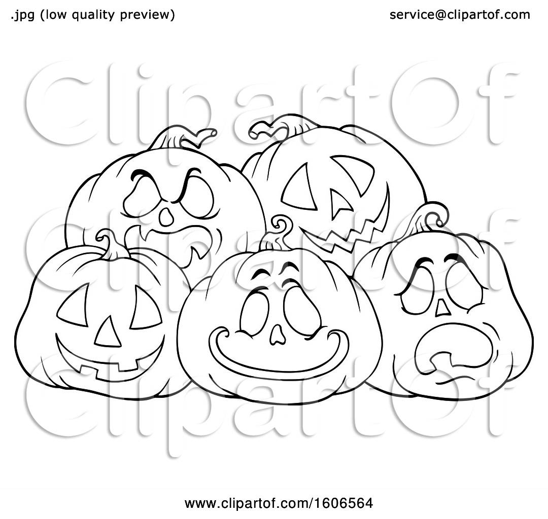 Clipart Of A Lineart Group Of Carved Halloween