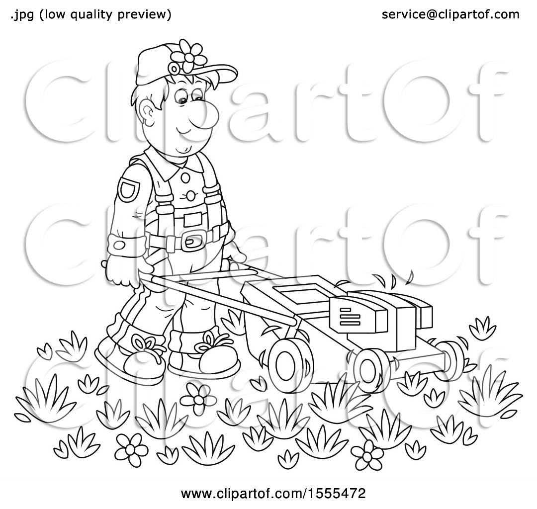 Clipart Of A Lineart Male Landscaper Using A Push Mower
