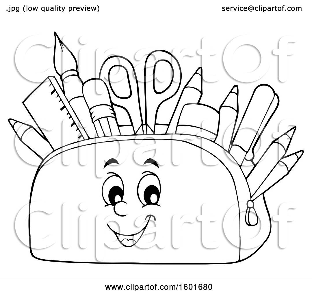 Clipart Of A Lineart Pencil Pouch Character Full Of School