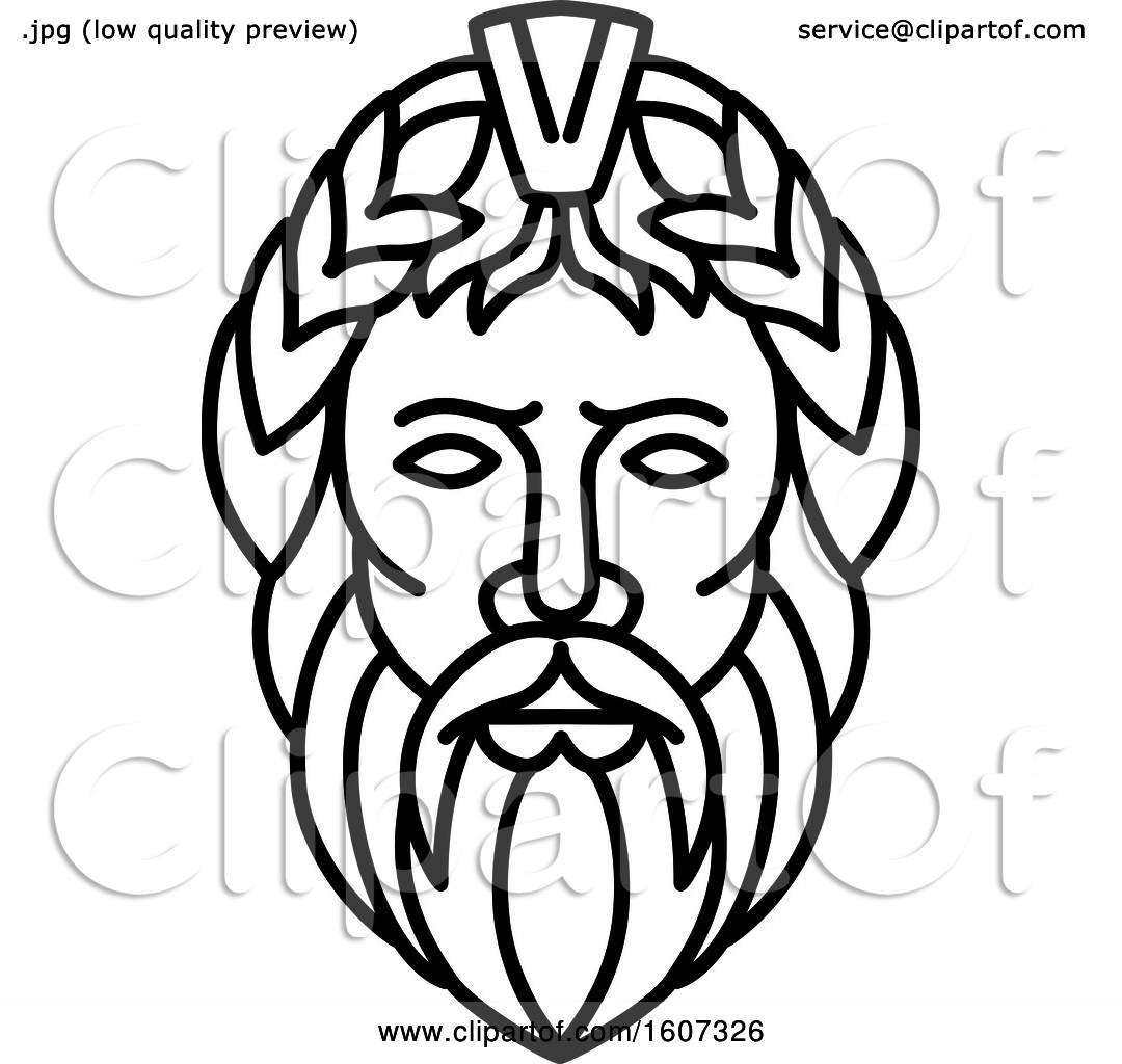 Clipart Of A Lineart Styled Head Of Zeus