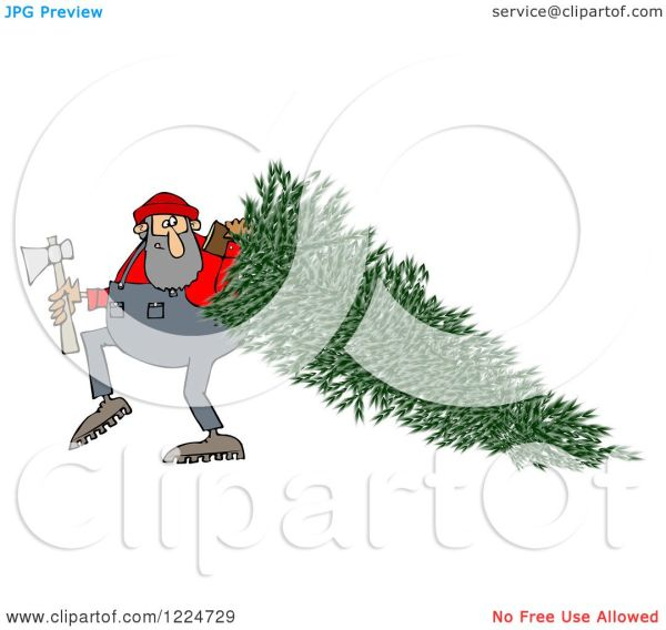 Clipart Of Lumberjack Man Pulling Fresh Cut Christmas