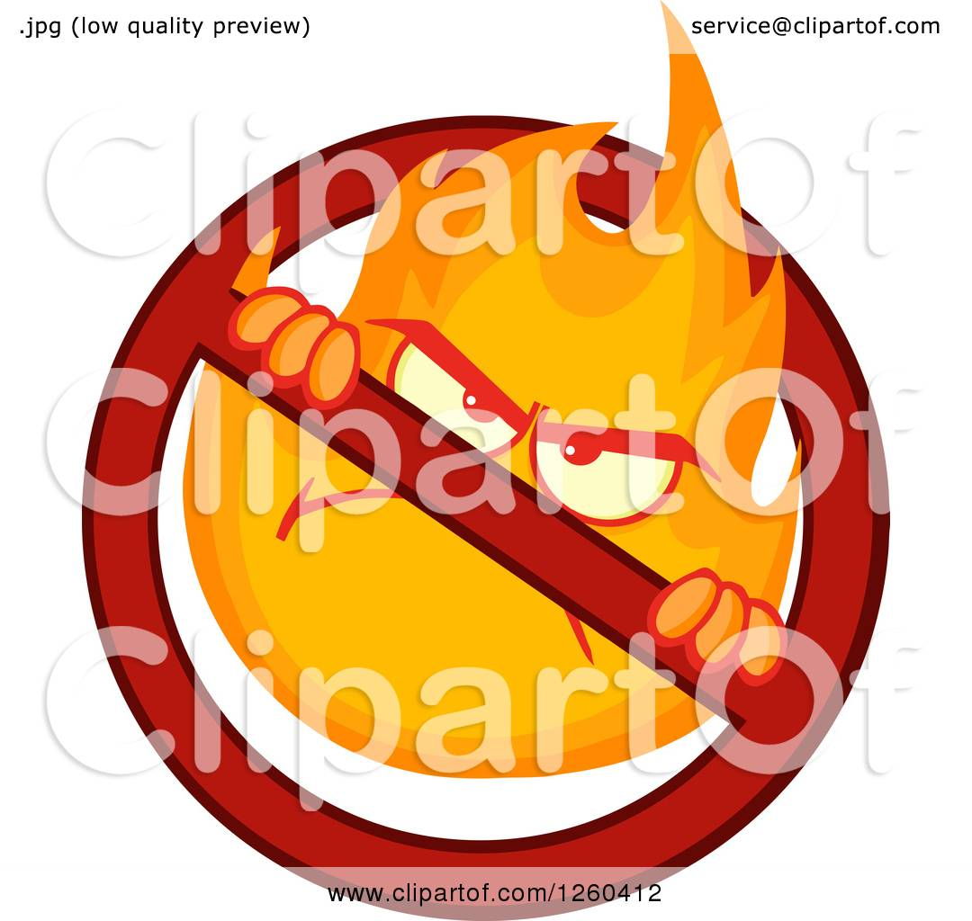 hight resolution of clipart of a mad fireball flame character in a prohibited symbol royalty free vector illustration