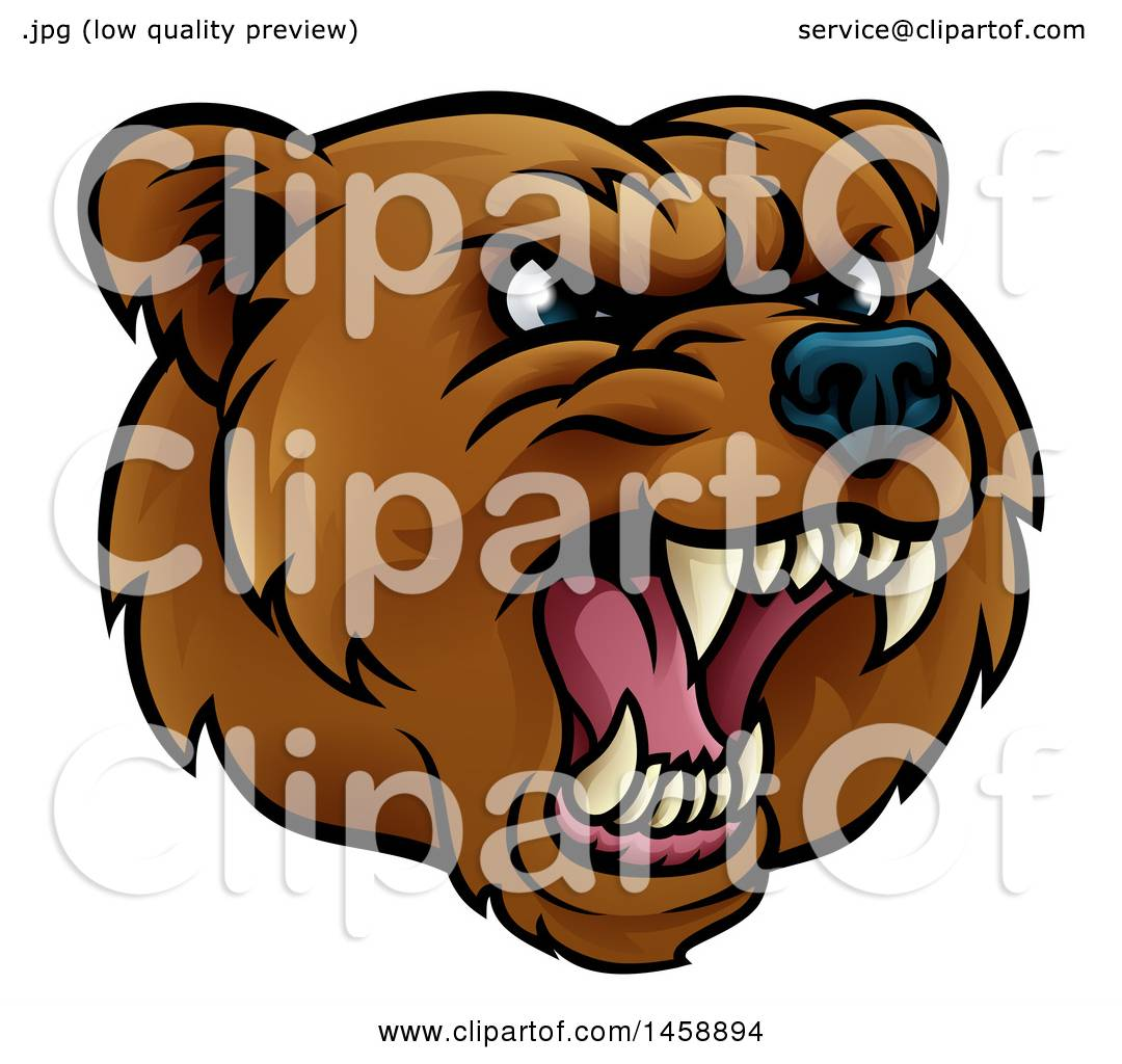 hight resolution of clipart of a mad grizzly bear mascot head royalty free vector illustration by atstockillustration