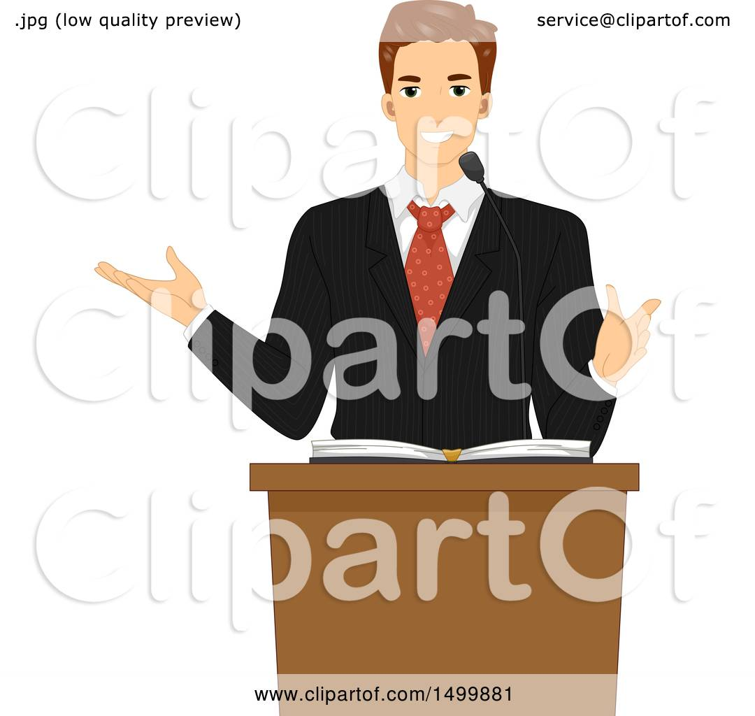 hight resolution of clipart of a male pastor preaching at a lectern royalty free vector illustration by bnp