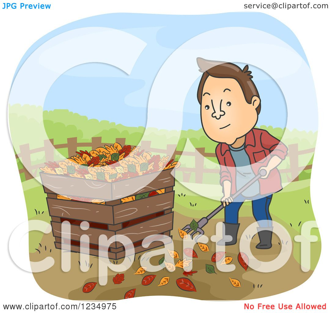 hight resolution of clipart of a man raking leaves and putting them in a compost bin royalty free vector illustration by bnp design studio