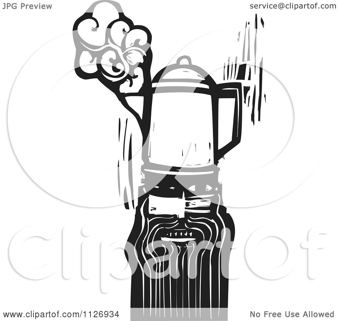 hight resolution of clipart of a man with a coffee percolator head black and white woodcut royalty free vector illustration by xunantunich