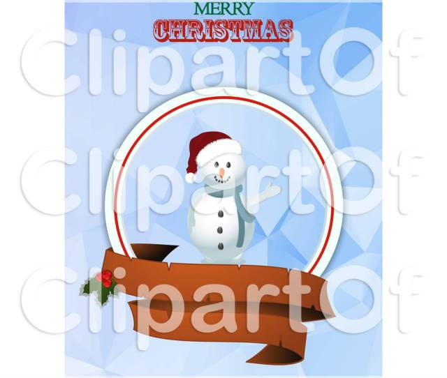 Clipart Of A Merry Christmas Greeting With A Waving Snowman And Banners Over Geometric Royalty Free Vector Illustration By Elaineitalia