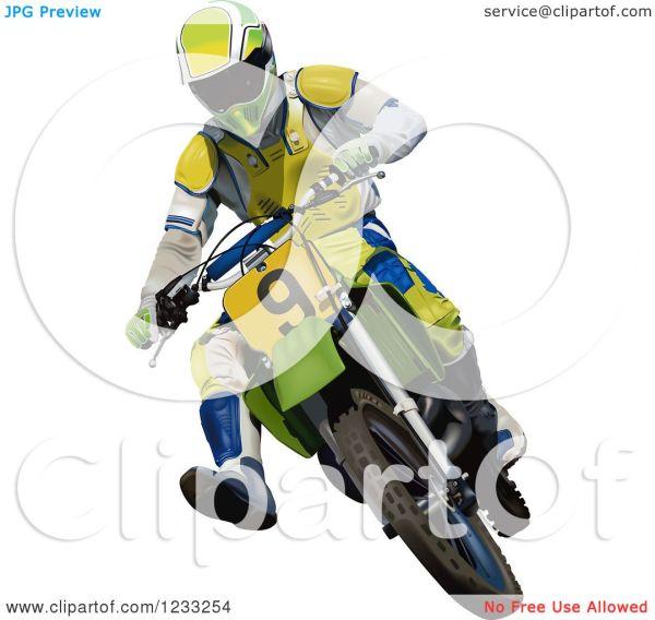 Clipart Of Motocross Man Dirt Bike - Royalty Free Vector Illustration Dero #1233254
