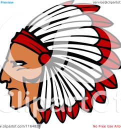 clipart of a native american brave with a red and white feather headdress royalty free vector illustration by vector tradition sm [ 1080 x 1024 Pixel ]