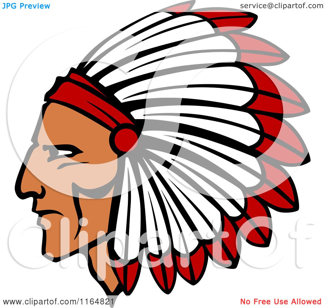 hight resolution of clipart of a native american brave with a red and white feather headdress royalty free vector illustration by vector tradition sm
