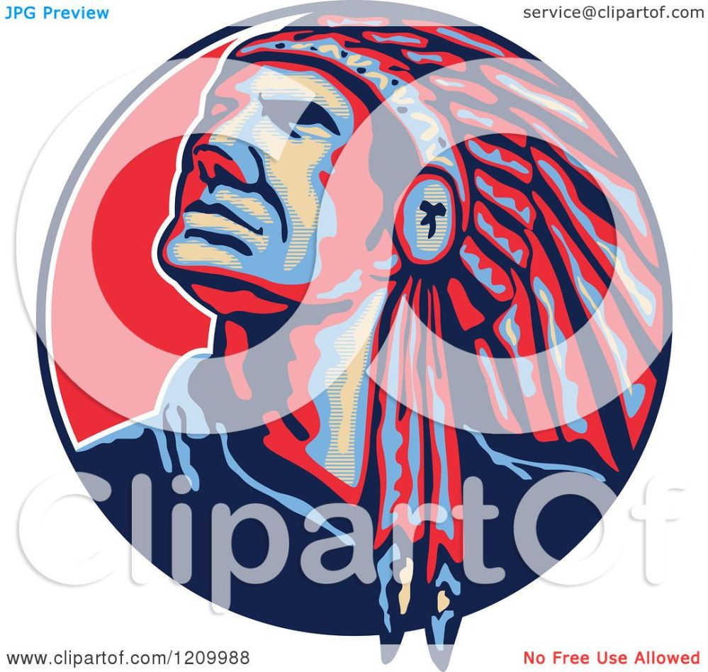 medium resolution of clipart of a native american indian chief in a feathered headdress looking up in a