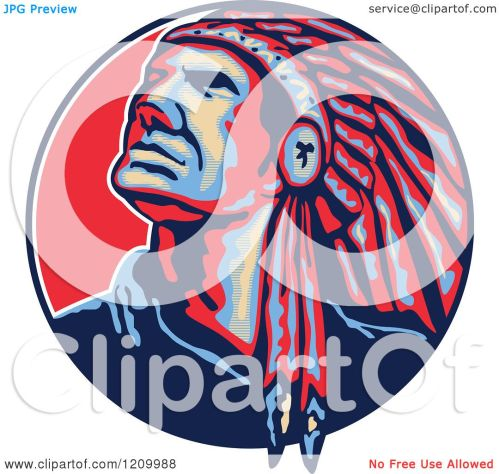 small resolution of clipart of a native american indian chief in a feathered headdress looking up in a
