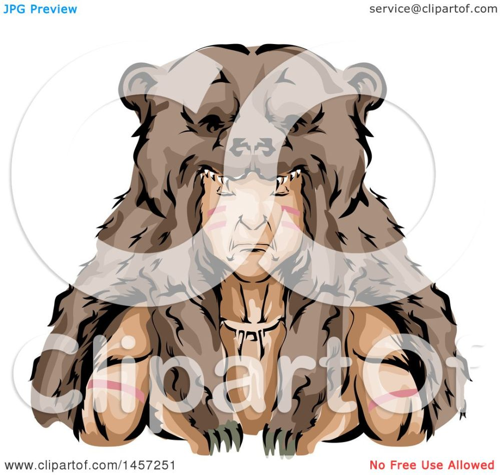 medium resolution of clipart of a native american indian hunter wearing a bear skin headdress royalty free vector illustration by bnp design studio