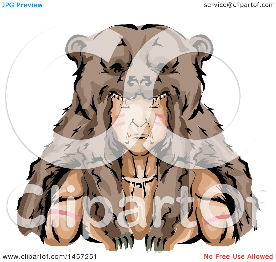hight resolution of clipart of a native american indian hunter wearing a bear skin headdress royalty free vector illustration by bnp design studio