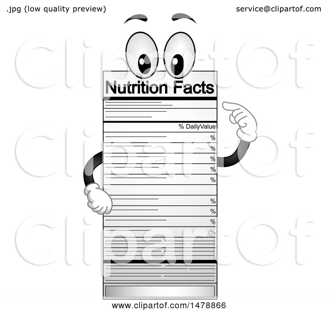 Clipart Of A Nutrition Facts Label Mascot