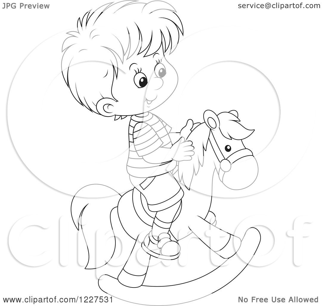 Clipart Of A Outlined Boy Playing On A Rocking Horse
