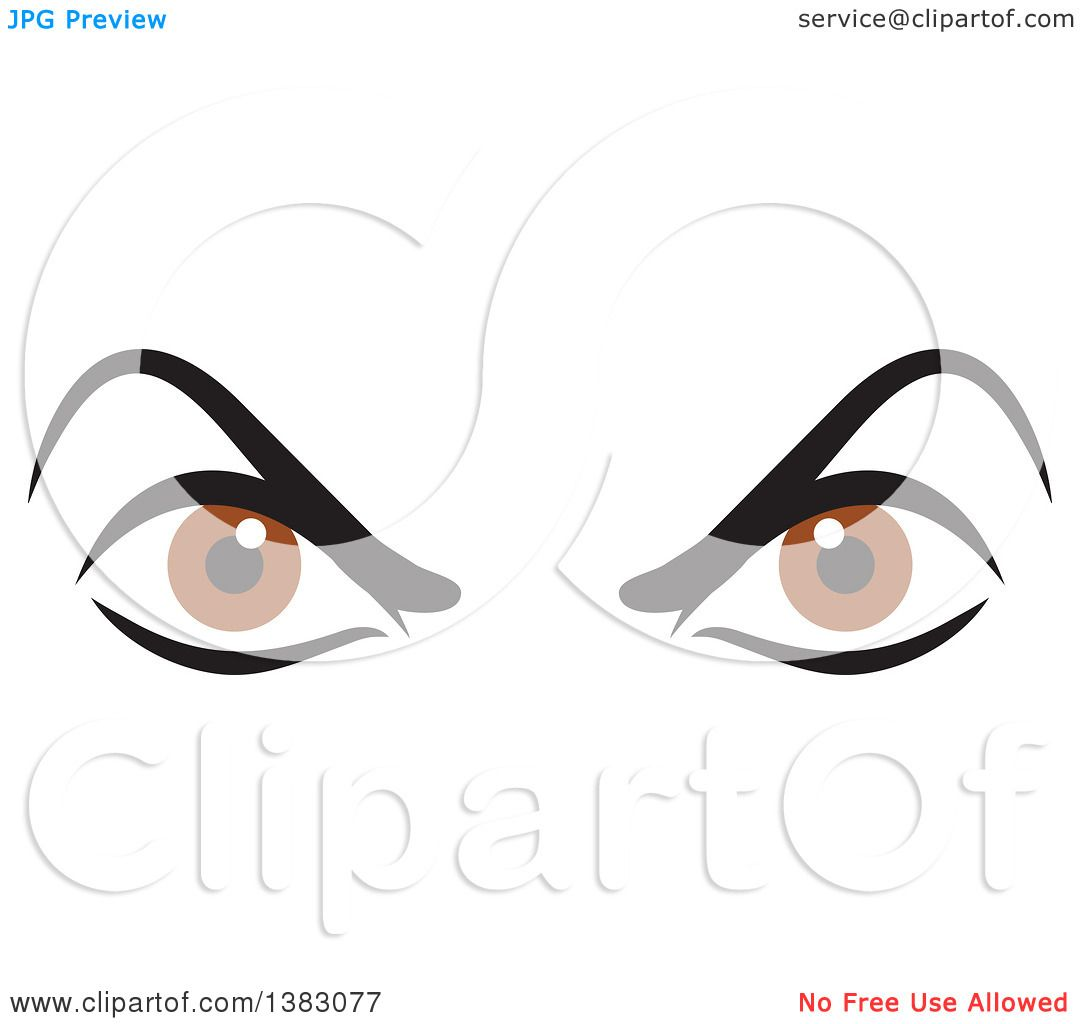 hight resolution of clipart of a pair of angry brown eyes royalty free vector illustration by johnny sajem